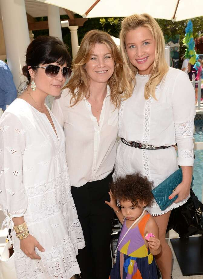 LOS ANGELES, CA - APRIL 27:  Acresses (L-R) Selma Blair, Ellen Pompeo, daughter Stella Ivery and Jessica Capshaw attend the Huggies Snug & Dry and Baby2Baby Mother's Day Garden Party held on April 27, 2013 in Los Angeles, California.  (Photo by Jason Merritt/Getty Images for Baby2Baby)