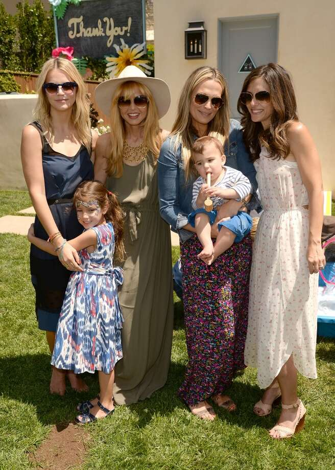 LOS ANGELES, CA - APRIL 27:  (L-R)  Kelly Sawyer Patricof, designer/TV personality Rachel Zoe, actress Molly Sims, son Brooks Stuber and Norah Weinstein attend the Huggies Snug & Dry and Baby2Baby Mother's Day Garden Party held on April 27, 2013 in Los Angeles, California.  (Photo by Jason Merritt/Getty Images for Baby2Baby)