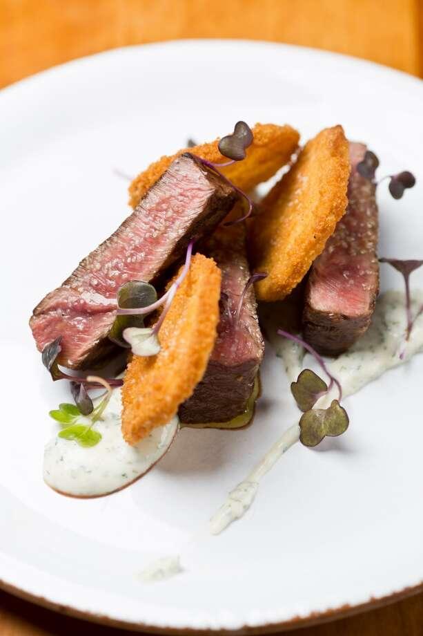 Glen Ellen Star: Grilled flat iron steak, fried green tomatoes, house ranch, purple radish