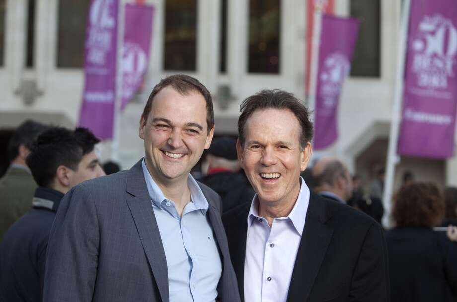 Daniel Humm, chef and co-owner of Eleven Madison Park (left), celebrates the announcement of the World's 50 Best Restaurants sponsored by S.Pellegrino and Acqua Panna with Thomas Keller, Chef and owner of Per Se (#11) and The French Laundry (#47), in front on London's Guildhall on Monday, April 29, 2013.