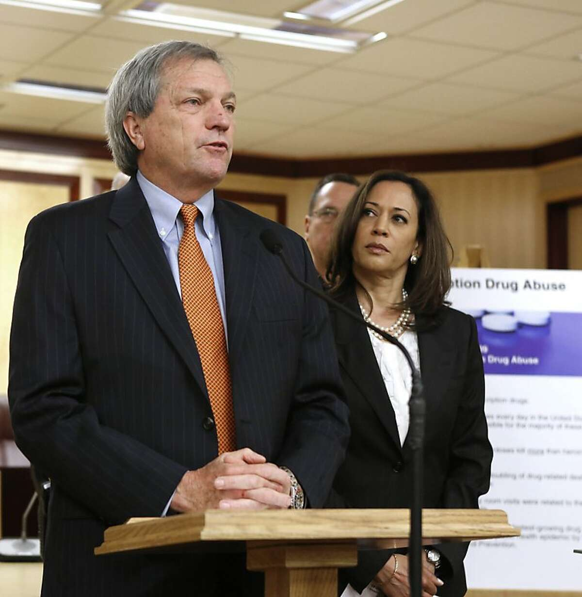 State Sen. Mark DeSaulnier, D-Concord, discusses his measure to impose a fee on medical care providers, drug manufacturers and health insurance plans to provide money to upgrade a substance-abuse tracking systems, at a Capitol news conference in Sacramento, Calif., Monday, April 15, 2013. Attorney General Kamala Harris, right, who supports the bill, says that an estimated $3.8 million is need for the system which allows pharmacist to quickly review patients substance history as a way to deter drug abuse.(AP Photo/Rich Pedroncelli)