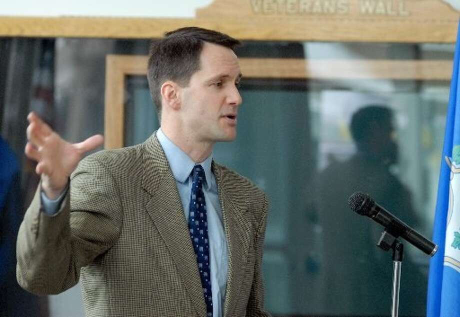 U.S. Rep. Jim Himes speaking this month at the swearing-in of Stamford's new postmaster. Photo: Advocate