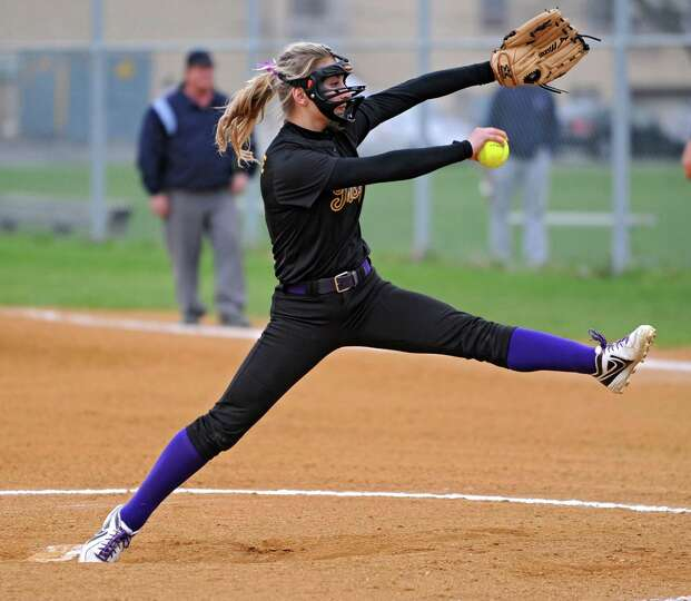 Troy pitcher Hunter Levesque throws the ball during a softball game against Catholic Central High Sc