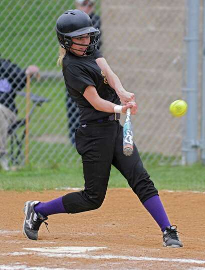 Troy's Allie Luscier hits the ball deep into centerfield for a double during a softball game against