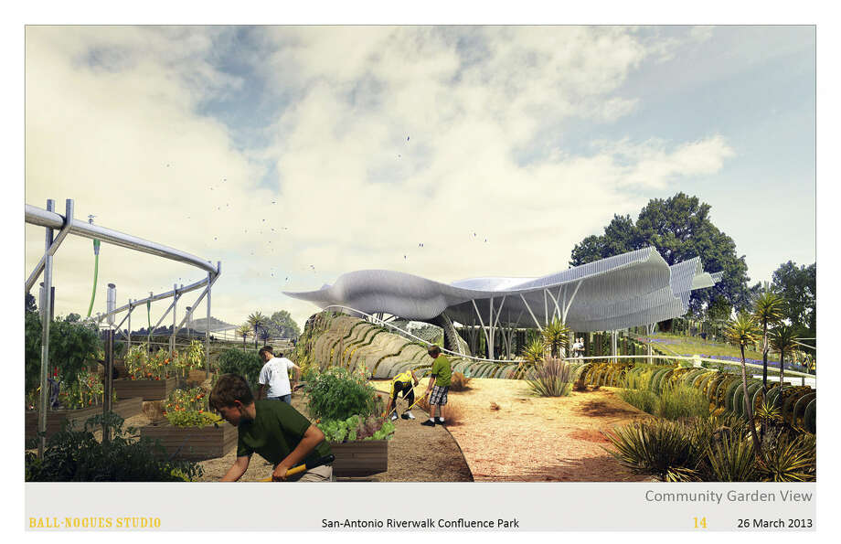 This artist's rendering shows what the pavilion of what's tentatively called Confluence Park could look like. Plans for the outdoor classroom include a large community garden, an acequia and areas depicting the region's many ecosystems.