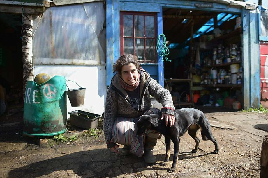 FASLANE, SCOTLAND - APRIL 29:  A part time resident at Faslane Peace Camp strokes a dog on April 29, 2013 in Faslane, Scotland. Activists are set to make a decision by June 12th whether or not to leave the peace camp due to falling numbers. Residents would create a permanent garden space to celebrate 31 years of anti nuclear and anti military campaigning.(Photo by Jeff J Mitchell/Getty Images) Photo: Jeff J Mitchell, Getty Images