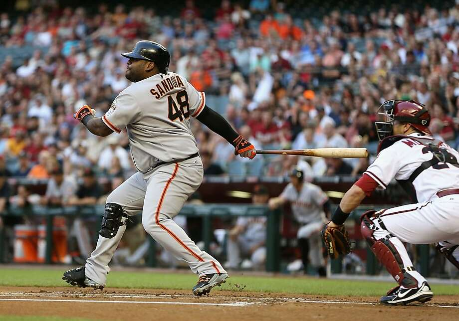 PHOENIX, AZ - APRIL 29:  Pablo Sandoval #48 of the San Francisco Giants hits a single against the Arizona Diamondbacks during the first inning of the MLB game at Chase Field on April 29, 2013 in Phoenix, Arizona.  (Photo by Christian Petersen/Getty Images) Photo: Christian Petersen, Getty Images