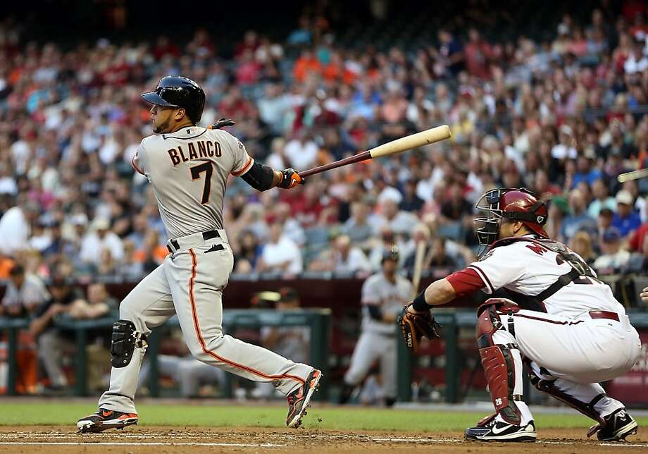 PHOENIX, AZ - APRIL 29:  Gregor Blanco #7 of the San Francisco Giants hits a RBI single against the Arizona Diamondbacks during the first inning of the MLB game at Chase Field on April 29, 2013 in Phoenix, Arizona.  (Photo by Christian Petersen/Getty Images) Photo: Christian Petersen, Getty Images