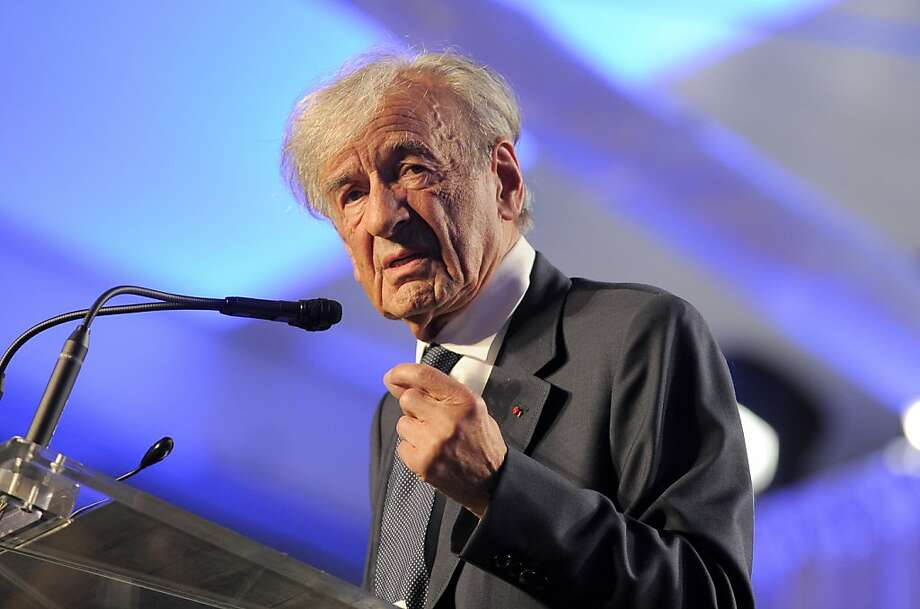 Elie Wiesel, founding chairman of the US Holocaust Memorial Museum, speaks during a ceremony to celebrate the museum's 20th anniversary in Washington, DC on April 29. 2013. AFP PHOTO/Jewel SamadJEWEL SAMAD/AFP/Getty Images Photo: Jewel Samad, AFP/Getty Images