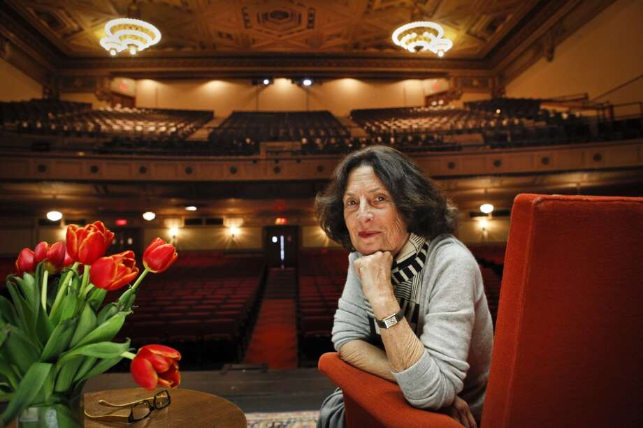 Sydney Goldstein of City Arts & Lectures is seen on stage at the Nourse Theatre on Thursday, April 4, 2013 in San Francisco, Calif., which she renovated and will be using while the Herbst Theatre is closed for seismic upgrades.