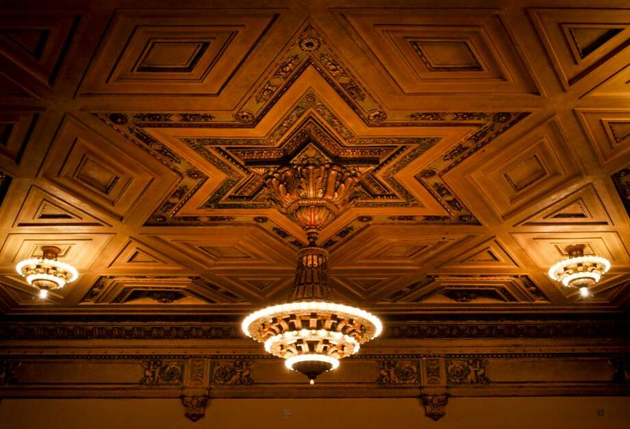 The ceiling of the Nourse Theater which was formerly the Commerce High School auditorium is seen on Thursday, April 4, 2013 in San Francisco, Calif.  City Arts & Lectures will be using the space while its current venue, the Herbst Theater, is closed for seismic upgrades.
