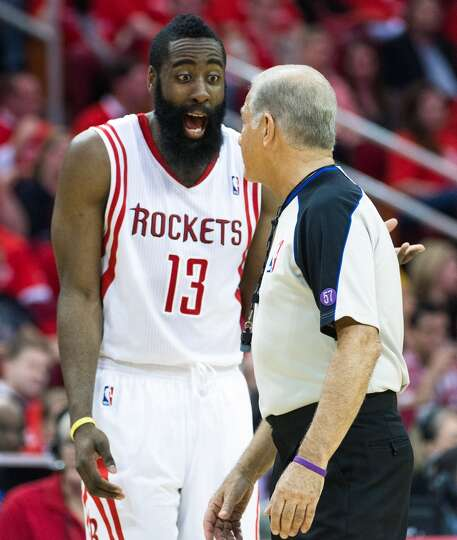 Rockets shooting guard James Harden argues with referee Bennett Salvatore.
