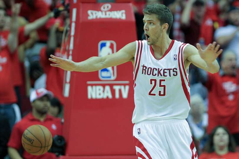 Rockets forward Chandler Parsons reacts after a call during the second half.