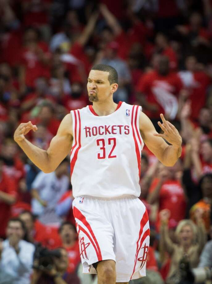 Rockets guard Francisco Garcia celebrates after making a 3-pointer during the first half. Photo: Smiley N. Pool, Houston Chronicle