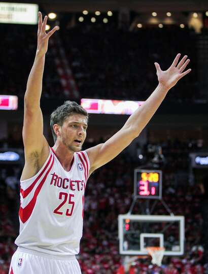 Rockets forward Chandler Parsons protests a referee's call during the first half.
