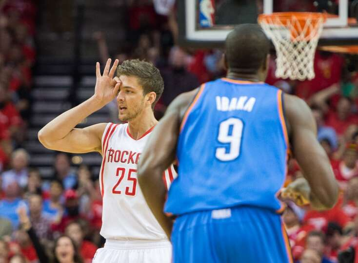 Rockets forward Chandler Parsons  celebrates after sinking a 3-pointer.