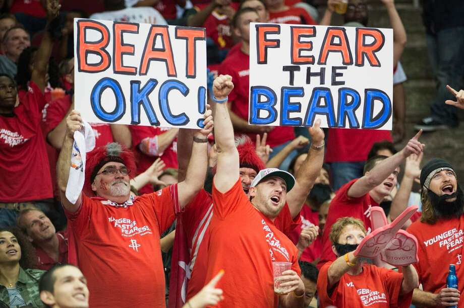 Rockets fans tried to stay positive even though the team was facing a near-impossible task in the series. Photo: Smiley N. Pool, Houston Chronicle