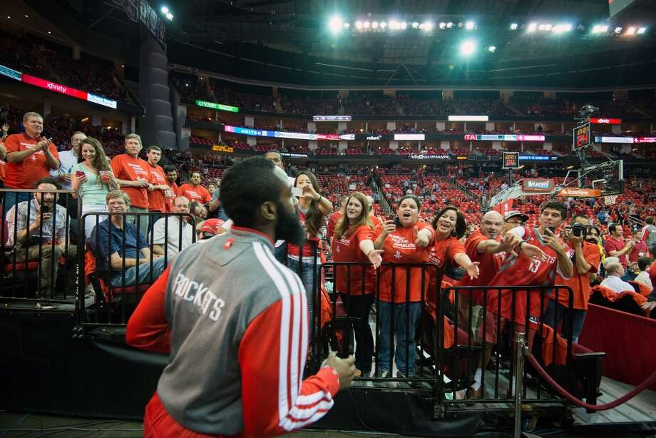 Rockets shooting guard James Harden takes the floor before playing the Thunder in Game 4. Photo: Smiley N. Pool, Houston Chronicle