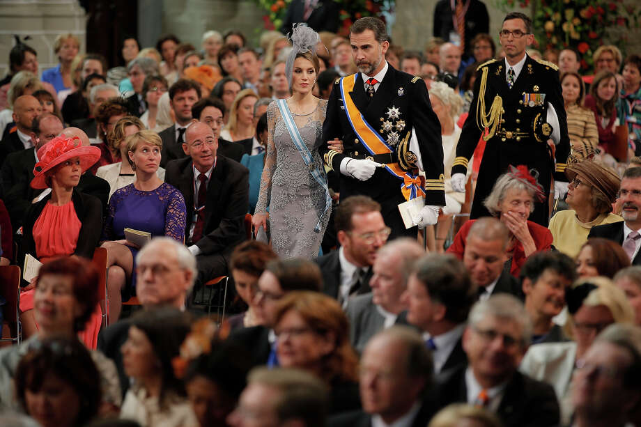 Princess Letizia of Spain and Prince Felipe of Spain attend the inauguration of HM King Willem Alexander of the Netherlands and HRH Princess Beatrix of the Netherlands at New Church on April 30, 2013 in Amsterdam, Netherlands. Photo: Pool, Getty Images / 2013 Getty Images