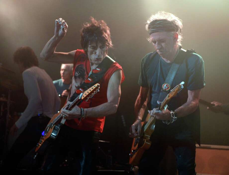 Ronnie Wood and Keith Richards of the Rolling Stones perform at Echoplex on April 27, 2013 in Los Angeles, California.