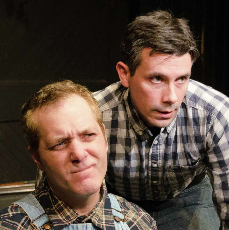 "Gabriel Morrow, right, plays George in the Town Players of New Canaan production ""Of Mice and Men,"" opening on Friday, May 3, at the Powerhouse Theatre in Waveny Park, New Canaan. With him is Brian Michael Riley, who plays Lennie. Photo: Contributed Photo, Contributed / Darien News Contributed"