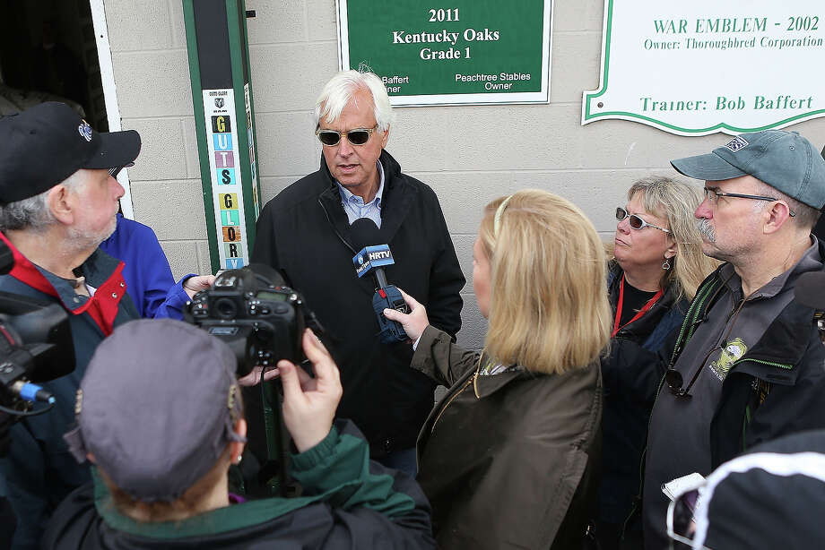 Trainer Bob Baffert fields questions from the media after the morning exercise session in preparation for the 139th Kentucky Derby at Churchill Downs on April 28, 2013 in Louisville, Kentucky. Photo: Matthew Stockman, Getty Images / 2013 Getty Images