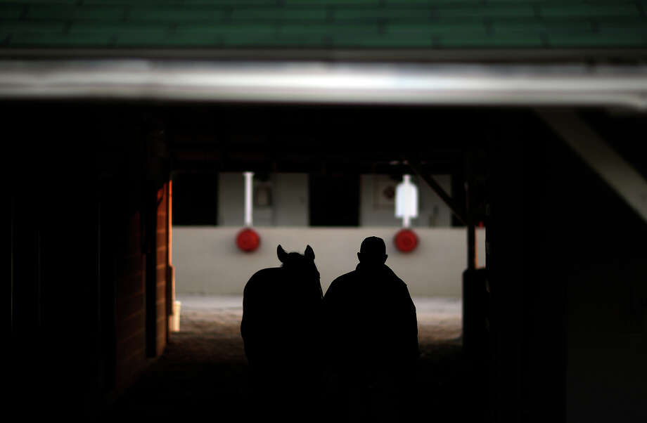 A horse is walked around a barn at Churchill Downs Tuesday, April 30, 2013, in Louisville, Ky. Photo: David Goldman, AP / AP