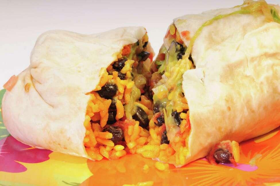 American Bombers Burrito Bar. 258 Lark St., Albany, 518-463-9636; and 447 State St., Schenectady, 518-374-3548. bombersburritobar.com. In photo: Vegetarian burrito from Bomber's Burrito Bar.
