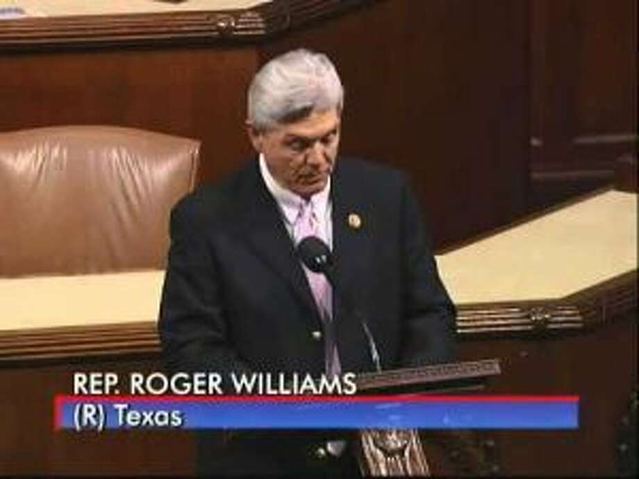 Roger Williams – R-Weatherford  Top Contributor: seven tied at $5,200  Top Sector: Lawyers $30,150  (CSPAN screenshot)