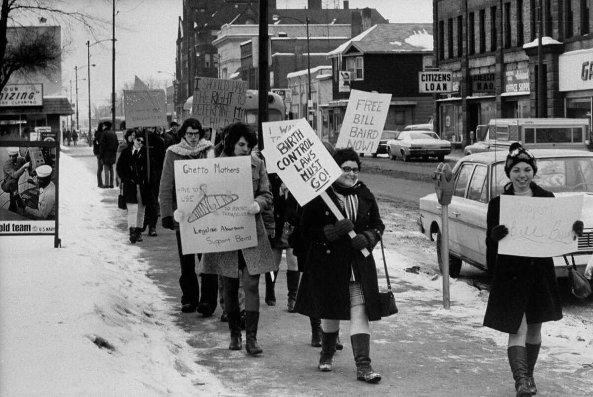 1970: Women staging a defense demonstration for NY abortion reformer, William R. Baird.