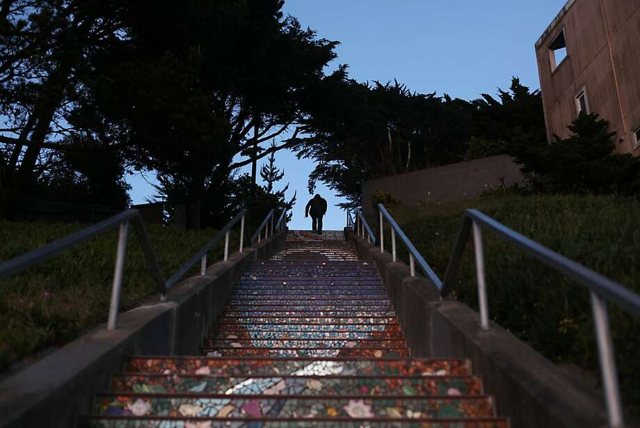 The colorful 16th Avenue Tiled Steps are an unexpected delight in this Inner Sunset neighborhood.  Photo: Pete Kiehart, The Chronicle