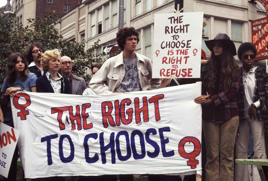 "1974: ""The Right To Choose"" banner and crowd at reproductive rights demonstration in Pittsburgh, Penn. Photo: Barbara Freeman, Getty Images / Copyright 1974, Barbara Freeman"