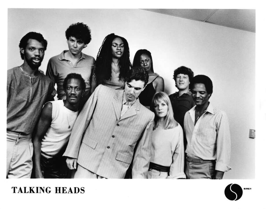 "The Talking Heads, featuring the line-up for the concert film ""Stop Making Sense,"" (from left, Steve Scales, Bernie Worrell, Jerry Harrison, Ednah Holt, David Byrne, Lynn Mabry, Tina Wemouth, Chris Frantz and Alex Weir), pose for a portrait in 1984. A screening of this 1984 film will take place Monday, May 6, 2013, at the Fairfield Theatre Company in Fairfield, Conn., as part of a dual benefit for WPKN 89.5 FM and the theater company. For more information, call 203-259-1036 or visit http://fairfieldtheatre.org (Photo by Sire Records/Michael Ochs Archives/Getty Images) Photo: Contributed Photo / Stamford Advocate Contributed"
