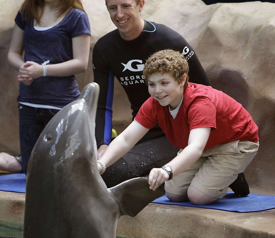 "I wanna hold your flipper: Thirteen-year-old Zack Bernstein ""dances"" with a dolphin at the Georgia Aquarium in Atlanta. The aquarium has recently begun to allow the public to interact with its show dolphins. Photo: Bob Andres, McClatchy-Tribune News Service"