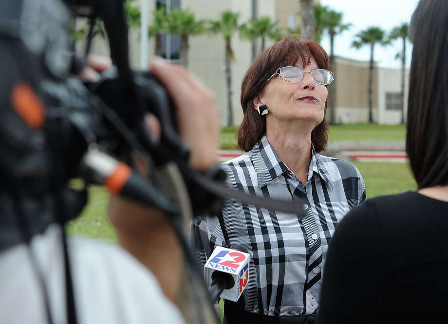 "Deborah Ray Holst sighs in relief Tuesday after looking to the sky and saying, ""Mom you are avenged and we love you,"" shortly after Bartholomew Granger was found guilty on capital murder charges from the shooting death of Holst's mother Minnie Ray Sebolt. The trial stems from the 2012 Jefferson County Courthouse Shooting. ""This is the best feeling I've had in over a year and a half,"" she said, smiling, to reporters. Photo taken Tuesday, April 23, 2013 Guiseppe Barranco/The Enterprise Photo: Guiseppe Barranco, STAFF PHOTOGRAPHER / The Beaumont Enterprise"