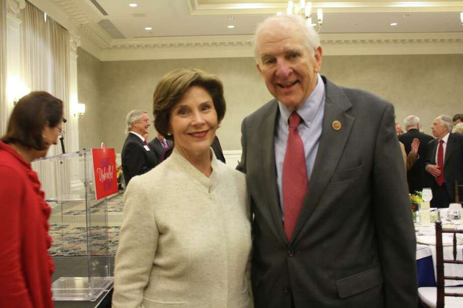 Rep. Sam Johnson with former first lady Laura Bush at George W. Bush Presidential Library ceremony. Facebook photo.