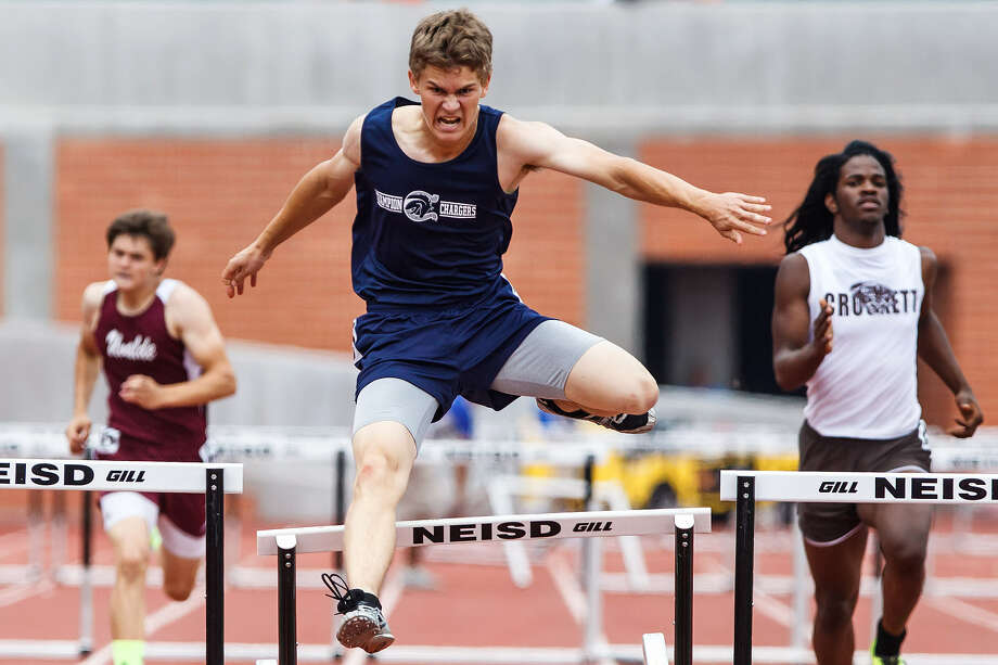 Boerne Champion's Austin Ley won the 300-meter hurdles with a time of 38.44 during the Region IV-4A track meet at Heroes Stadium on Saturday. Photo: Marvin Pfeiffer / Northwest Weekly