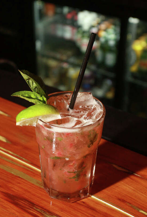 "A ""strawberry basil margarita,"" at Liberty Station, 2101 Washington in Houston. Photo: Gary Fountain, For The Chronicle / Freelance"