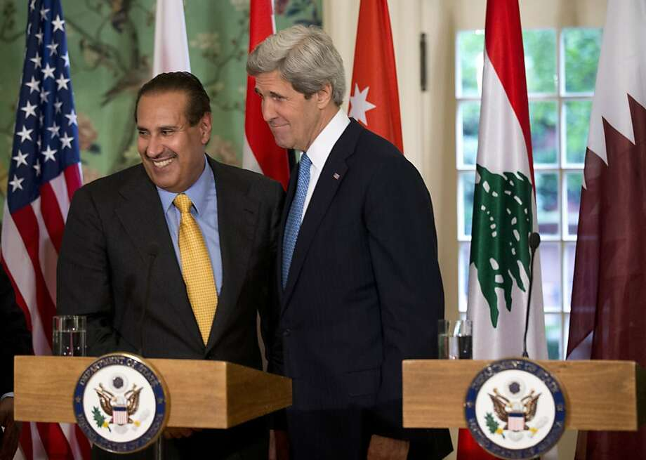 Secretary of State John Kerry (right), Qatari Premier Hamad bin Jassim bin Jabr al Thani in D.C. Photo: Manuel Balce Ceneta, Associated Press