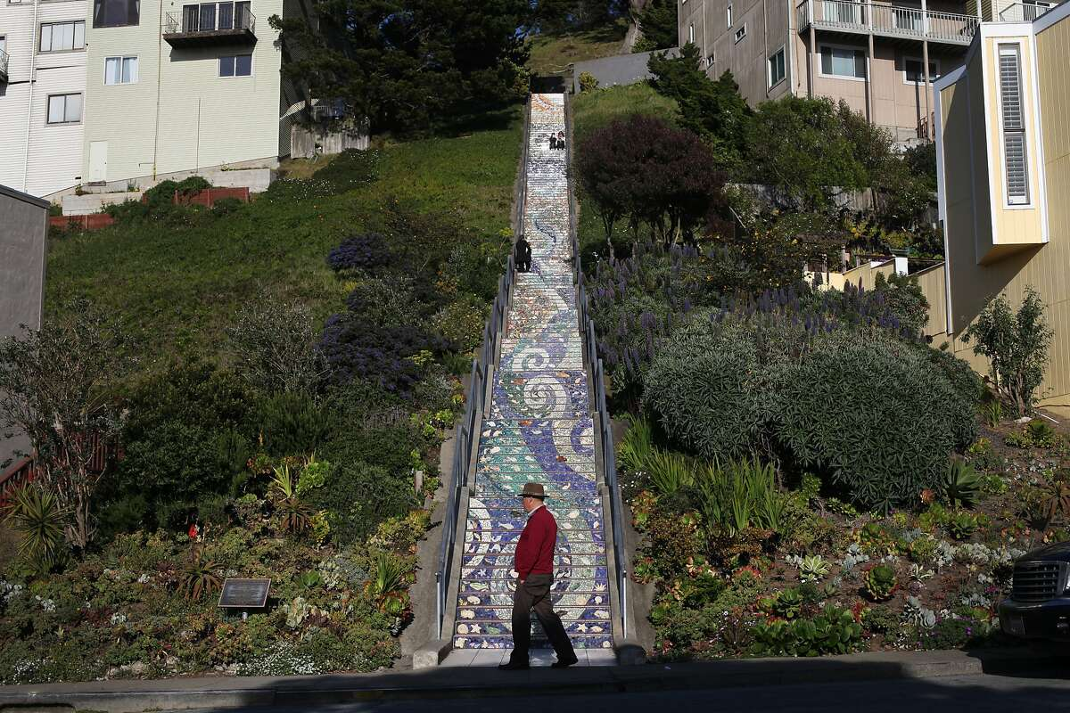 A man walks in front of the Moraga Steps on April 18, 2013 in the Golden Gate Heights neighborhood of San Francisco, Calif.