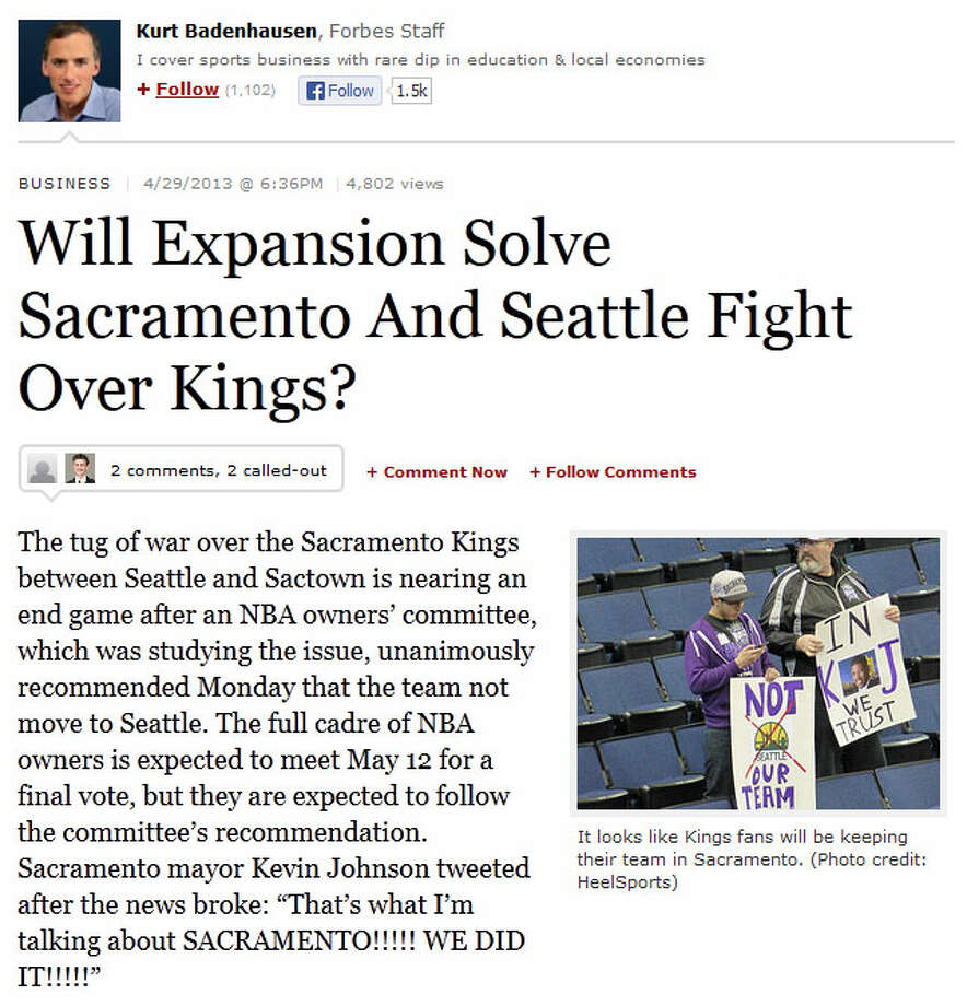 Forbes  The business magazine immediately jumped on the issue of expansion, explaining what could happen if Seattle were awarded an NBA expansion team -- which league commissioner David Stern has repeatedly said is not in the cards. Writer Kurt Badenhausen's conclusion? Yeah, expansion's not likely.