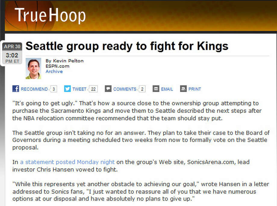ESPNIn a statement Monday, Hansen vowed not to quit fighting for the Kings -- since he has a binding purchase agreement with the Maloofs. On ESPN.com, writer Kevin Pelton cites a source who said things are ''going to get ugly.'' Oh boy, we can't wait.