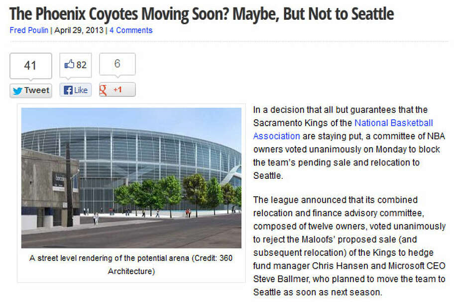 The Hockey WritersOn this hockey blog, writer Fred Poulin took a look at what the NBA's decision could mean for Seattle's chances of getting an NHL team. Essentially, he wrote, this eliminates Seattle as a potential home for the Phoenix Coyotes, which appear to be on their way out of Glendale, Ariz.