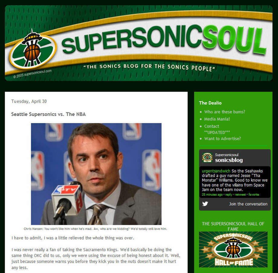SuperSonic Soul  On this Sonics fan blog, writer Paul Merrill admitted that he never really felt good about stealing the Kings from Sacramento -- as Oklahoma City did to the Sonics -- and is now relieved the Kings brouhaha is over. Merrill then predicted that Hansen will threaten a lawsuit, sparking the NBA to award Seattle an expansion team.