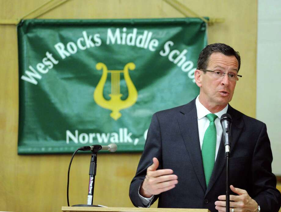 Governor Dannel P. Malloy speaks during the community forum at West Rocks Middle School in Norwalk, Tuesday night, April 30, 2013. Photo: Bob Luckey / Greenwich Time
