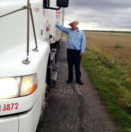 Leroy Falkenberg, the columnist's father, poses near Alice, Texas on his way back from delivering his final load in McAllen. He retired Monday after 40 years of driving truck. Photo: Chronicle / Houston Chronicle