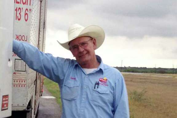 Leroy Falkenberg, the columnist's father, poses near Alice, Texas on his way back from delivering his final load in McAllen. He retired Monday after 40 years of driving truck.