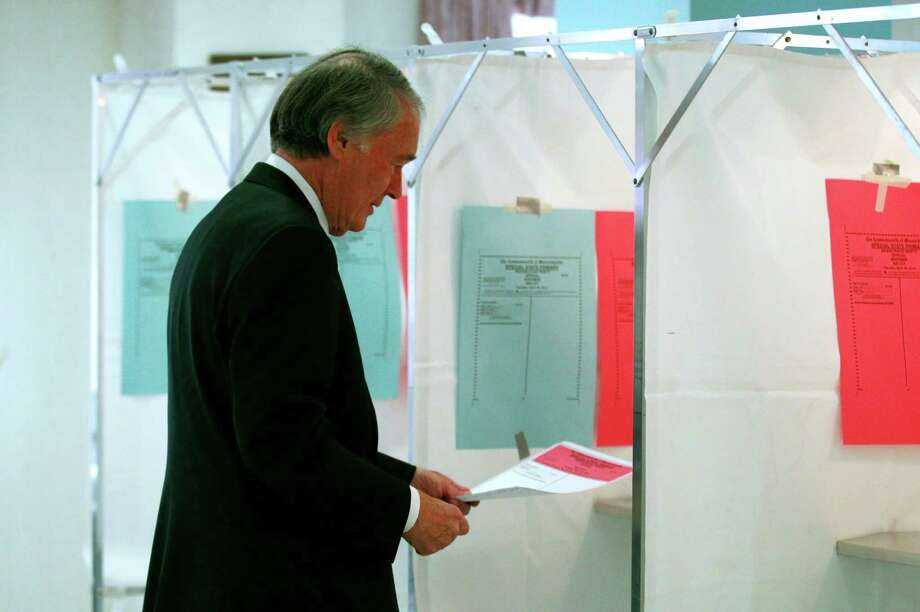 Democratic U.S. Senate hopeful, Mass. Rep. Edward Markey, D-Malden, carries his ballot while casting his vote in Malden, Mass., Tuesday, April 30, 2013. Markey and U.S. Rep. Stephen Lynch, D-Boston, vying for their party's nomination in the special April 30, 2013 primary. (AP Photo/Charles Krupa) Photo: Charles Krupa