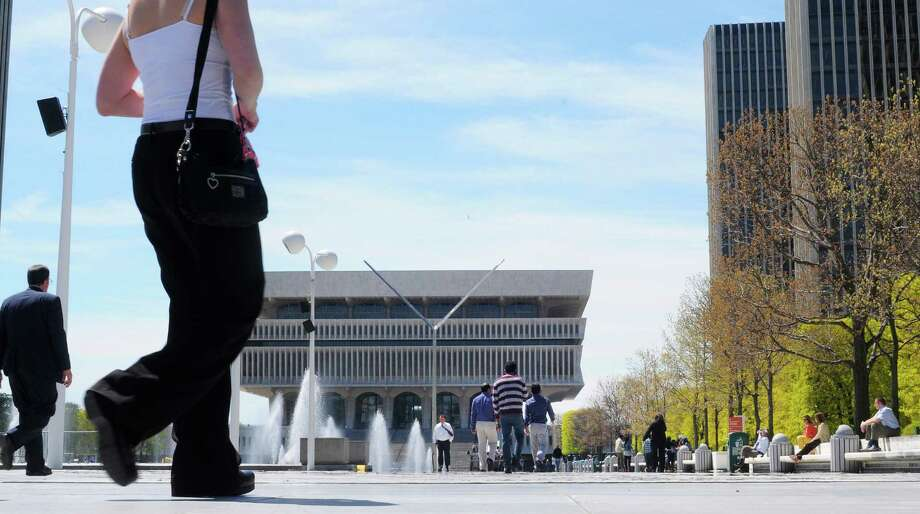Empire State Plaza outside the agency buildings and the State Museum on Tuesday, April 30, 2013 in Albany, N.Y.   (Paul Buckowski / Times Union) Photo: Paul Buckowski / 10022233A