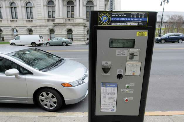 A view of one of the multi-space parking meters on Washington Ave. on Monday, April 29, 2013 in Albany, NY.   (Paul Buckowski / Times Union) Photo: Paul Buckowski  / 10022202A